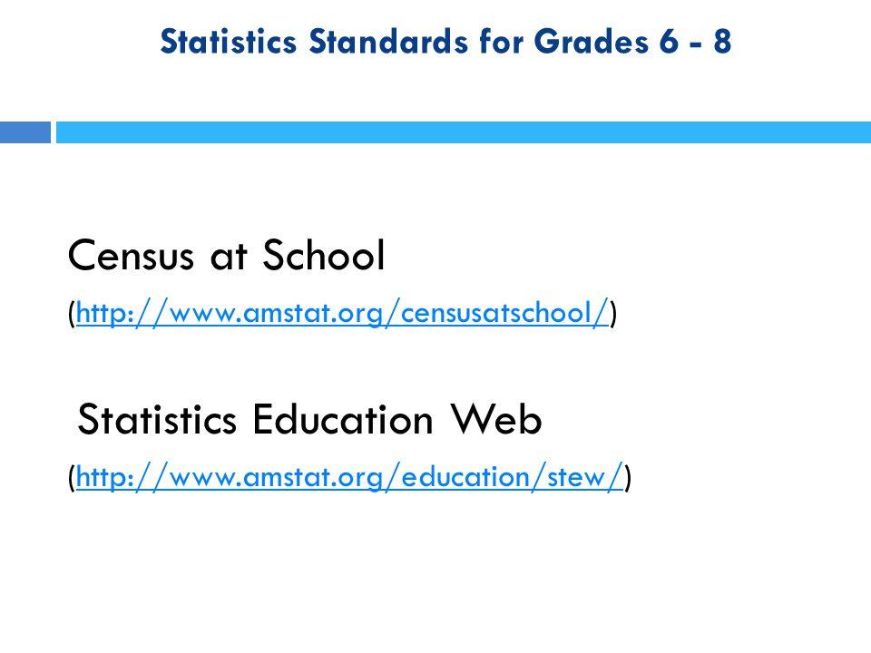 Statistics Standards for Grades 6 - 8