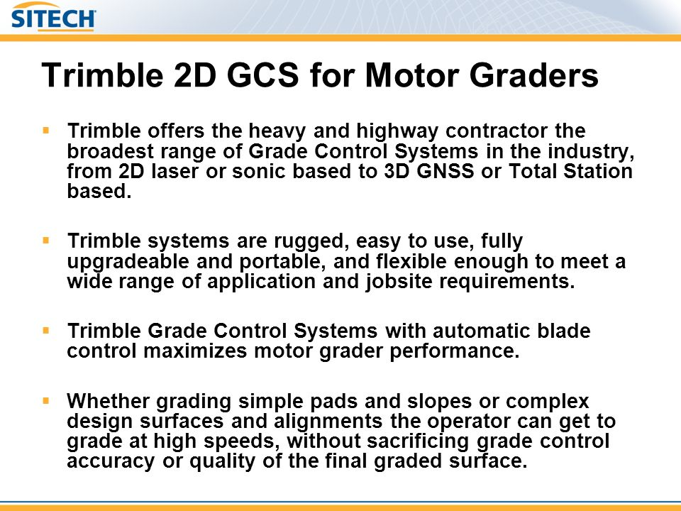 Trimble 2D GCS for Motor Graders