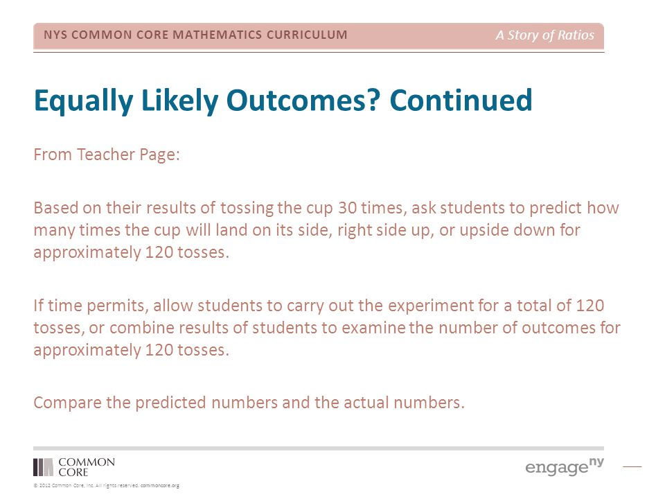 Equally Likely Outcomes Continued