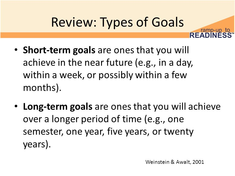 Review: Types of Goals