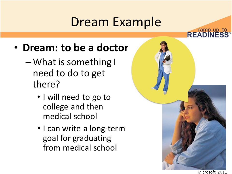 Dream Example Dream: to be a doctor