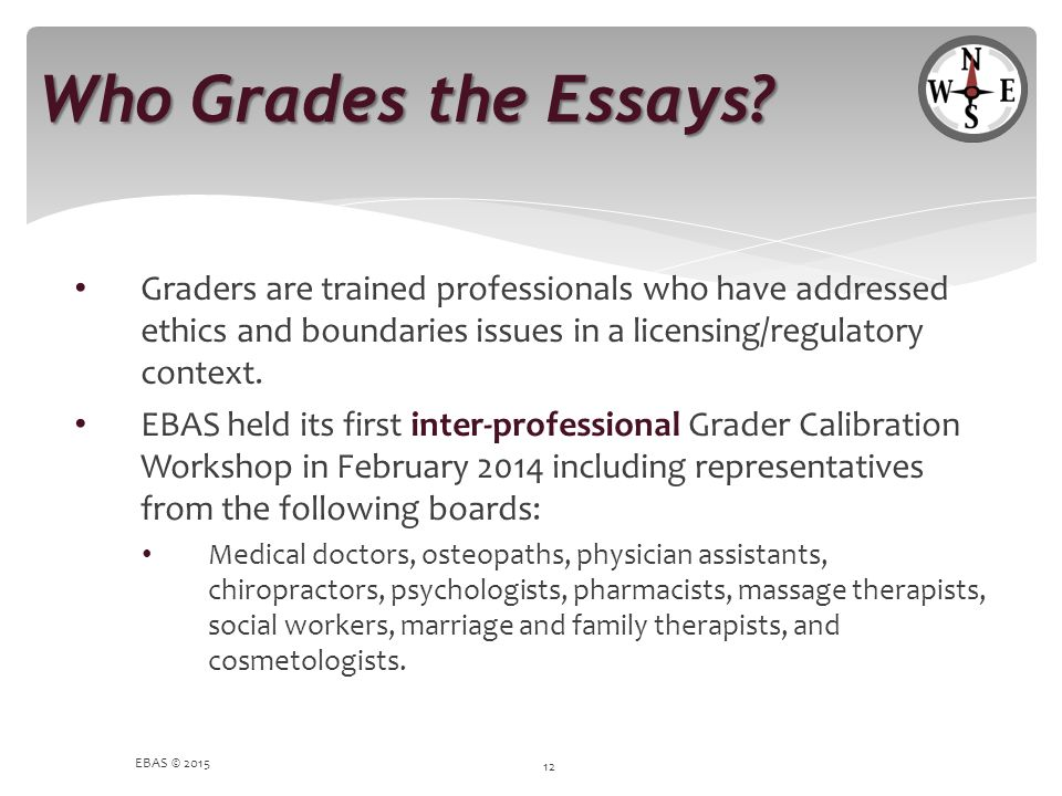 Who Grades the Essays Graders are trained professionals who have addressed ethics and boundaries issues in a licensing/regulatory context.