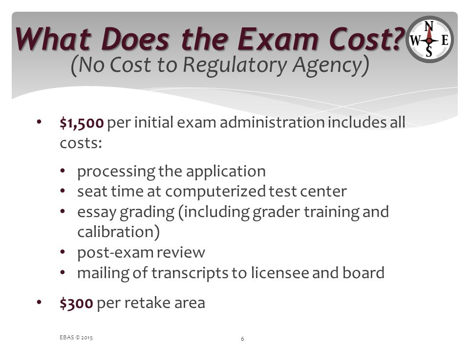 What Does the Exam Cost (No Cost to Regulatory Agency)