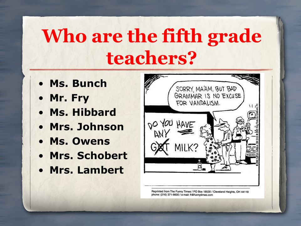 Who are the fifth grade teachers