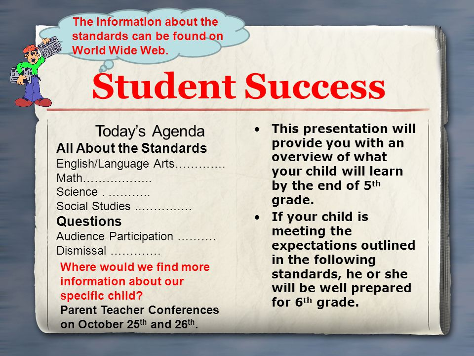 Student Success Today's Agenda All About the Standards Questions