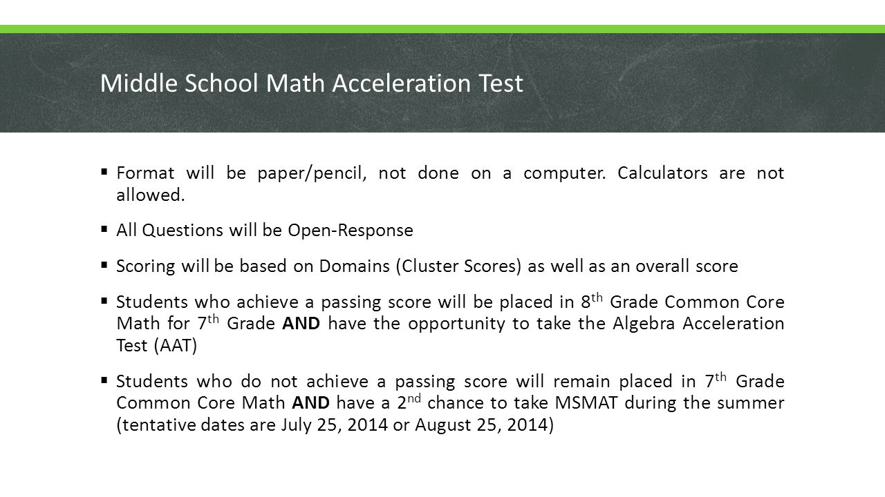 Middle School Math Acceleration Test