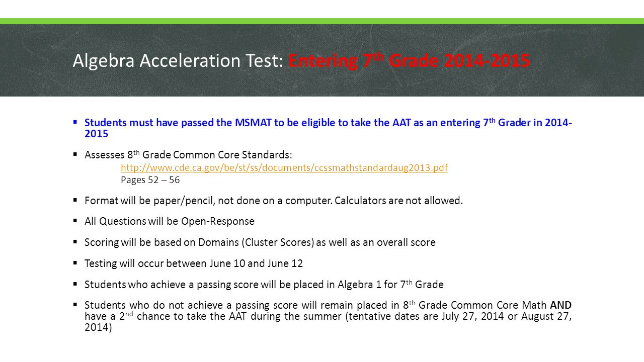 Algebra Acceleration Test: Entering 7th Grade 2014-2015