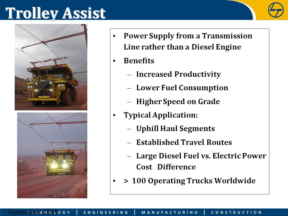 Trolley Assist Power Supply from a Transmission Line rather than a Diesel Engine. Benefits. Increased Productivity.