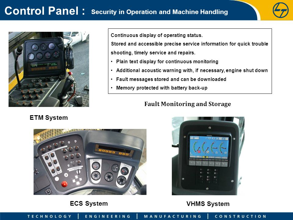 Control Panel : Security in Operation and Machine Handling