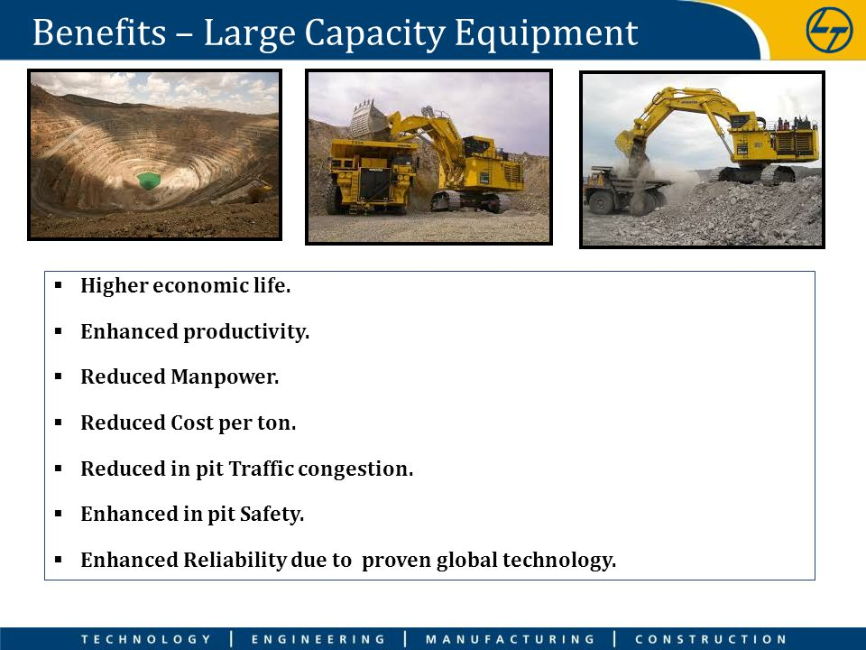 Benefits – Large Capacity Equipment