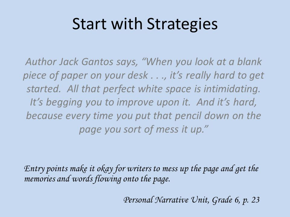 Start with Strategies