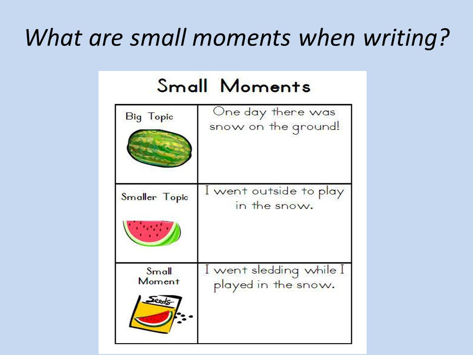What are small moments when writing