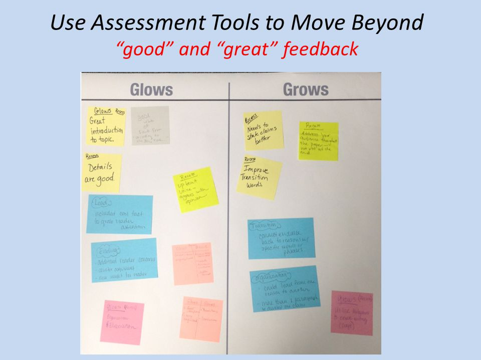 Use Assessment Tools to Move Beyond good and great feedback