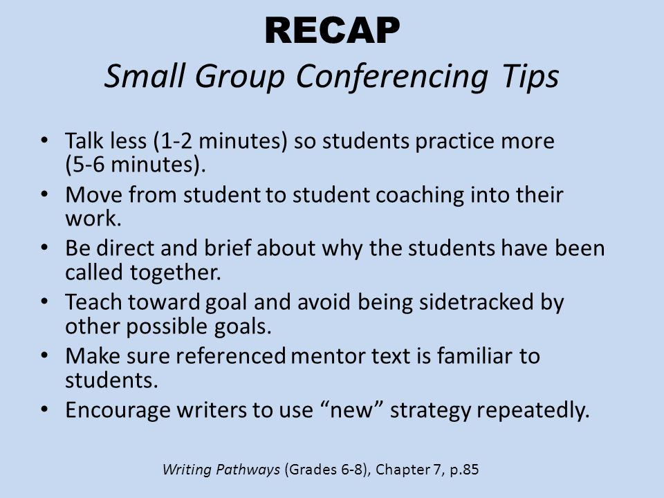 RECAP Small Group Conferencing Tips