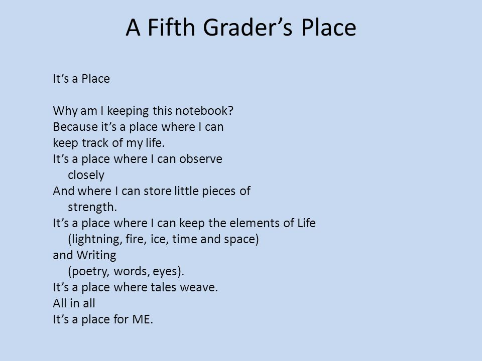 A Fifth Grader's Place