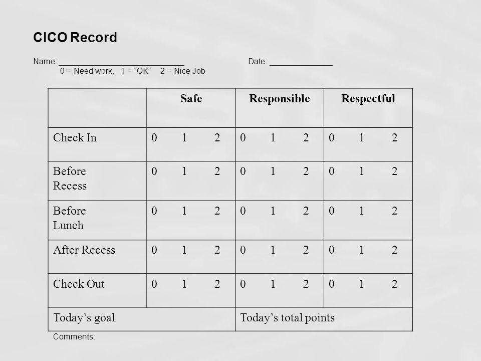 CICO Record Safe Responsible Respectful Check In 0 1 2 Before Recess
