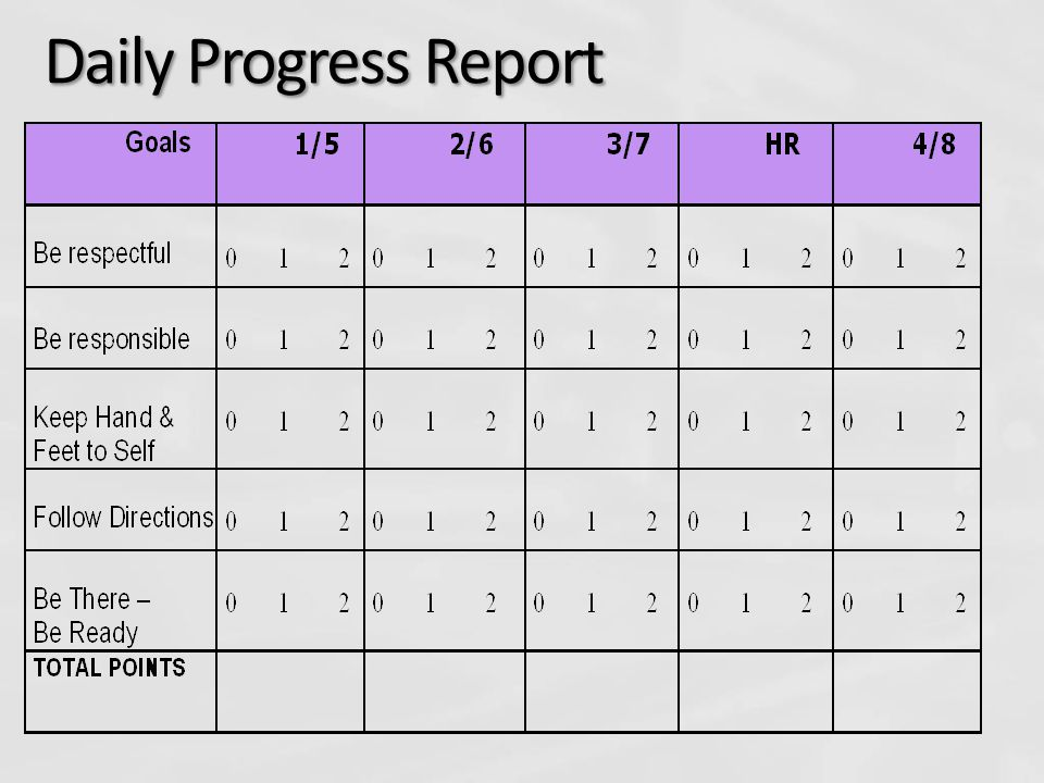 Daily Progress Report Periods (block schedule) along the top