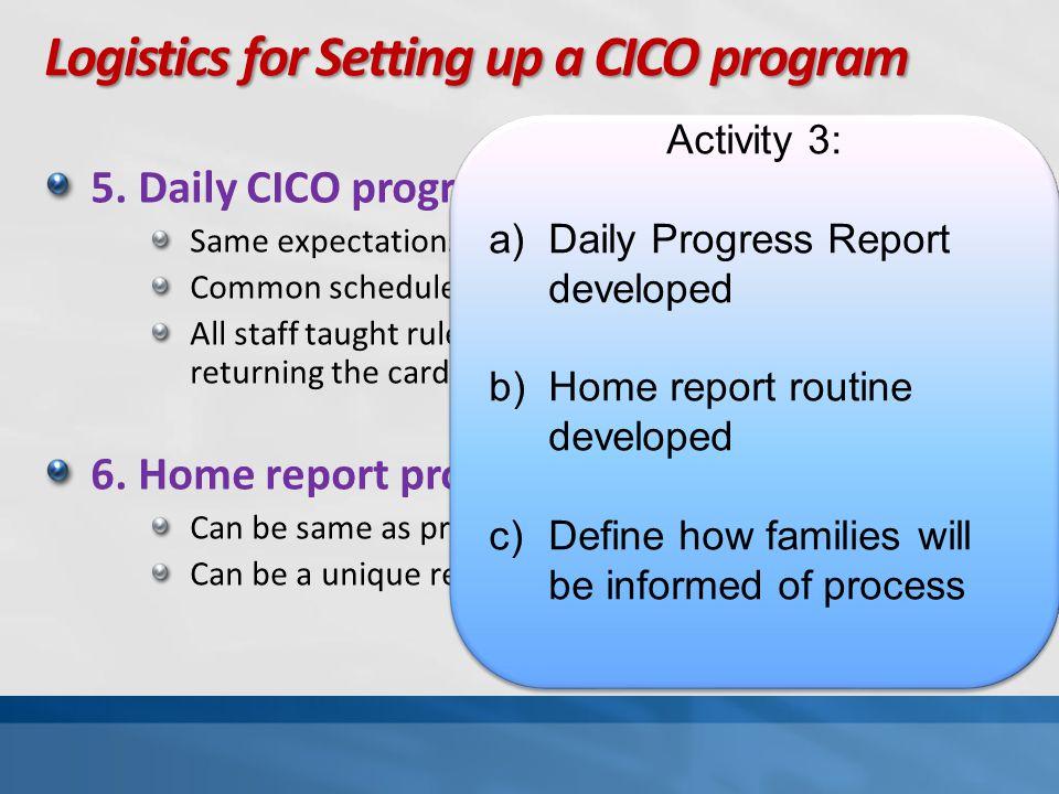 Logistics for Setting up a CICO program