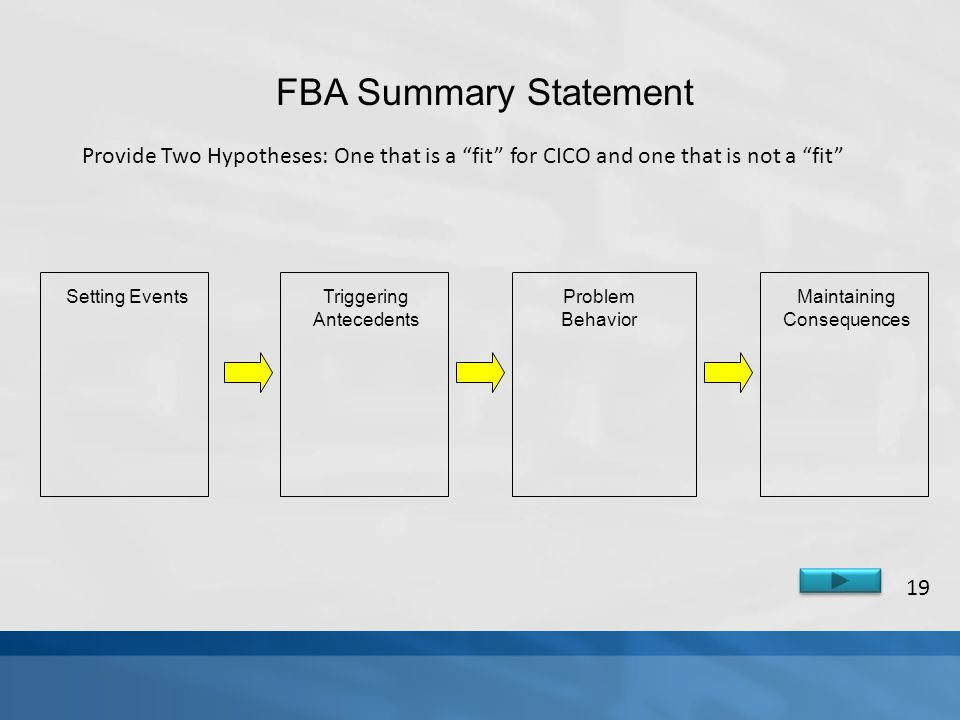 FBA Summary Statement Provide Two Hypotheses: One that is a fit for CICO and one that is not a fit