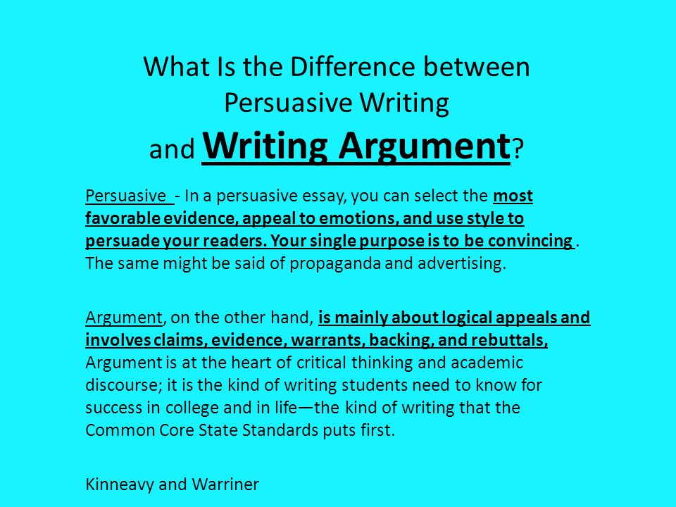 What Is the Difference between Persuasive Writing and Writing Argument
