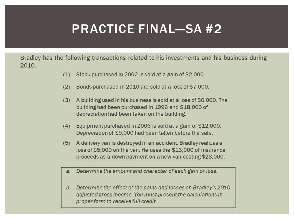 Practice final—SA #2 Bradley has the following transactions related to his investments and his business during 2010: