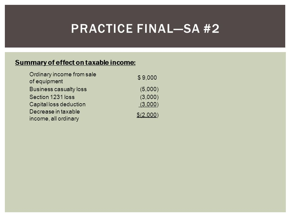 Practice final—SA #2 Summary of effect on taxable income: