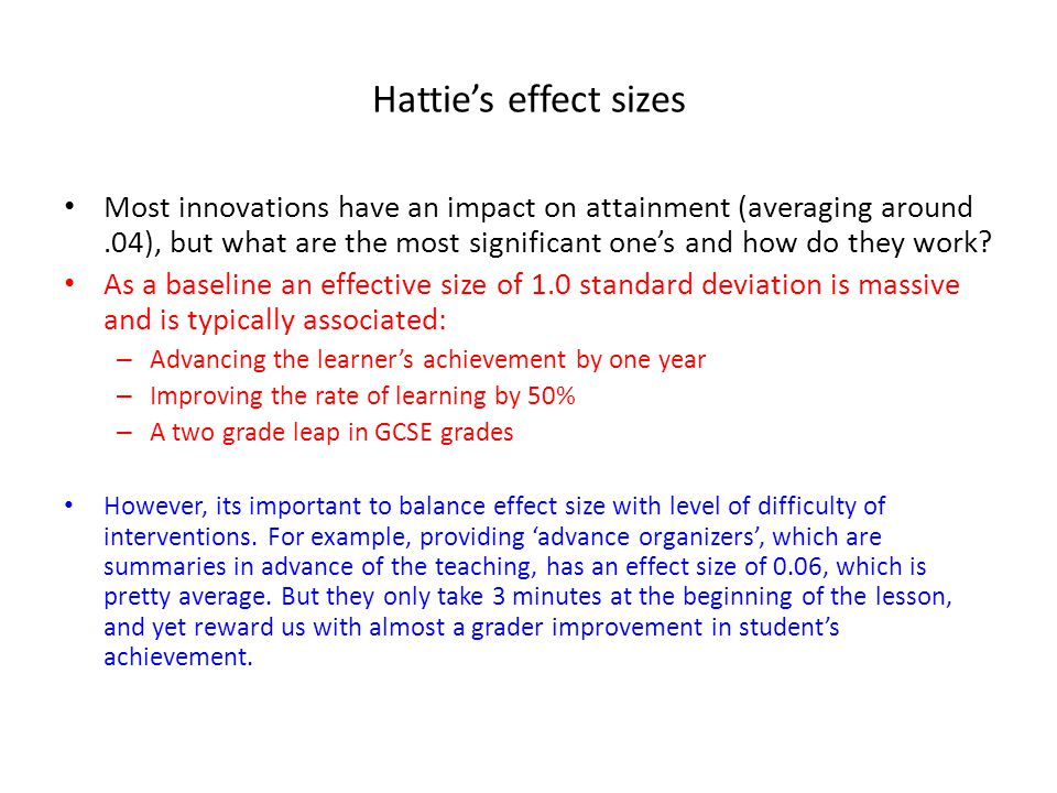 Hattie's effect sizes
