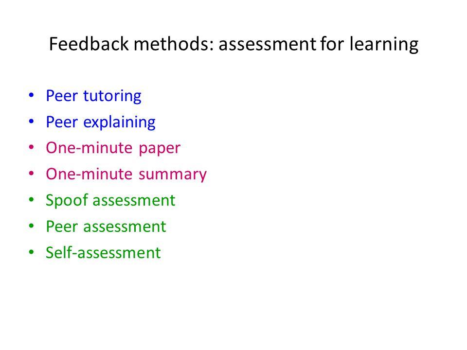 Feedback methods: assessment for learning