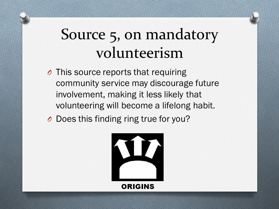 Source 5, on mandatory volunteerism