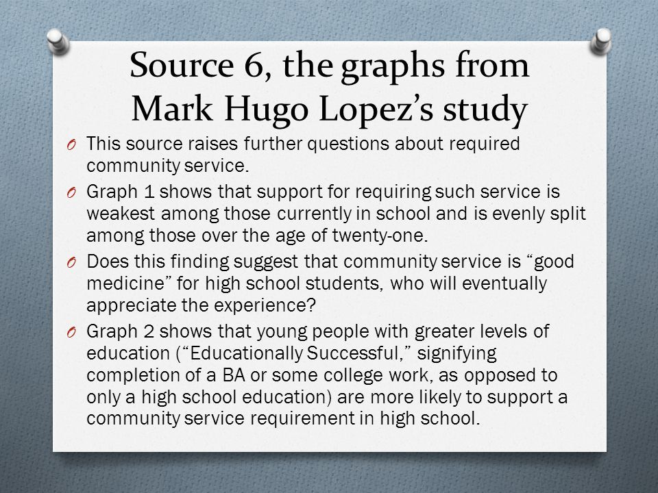 Source 6, the graphs from Mark Hugo Lopez's study
