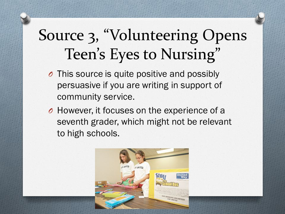 Source 3, Volunteering Opens Teen's Eyes to Nursing