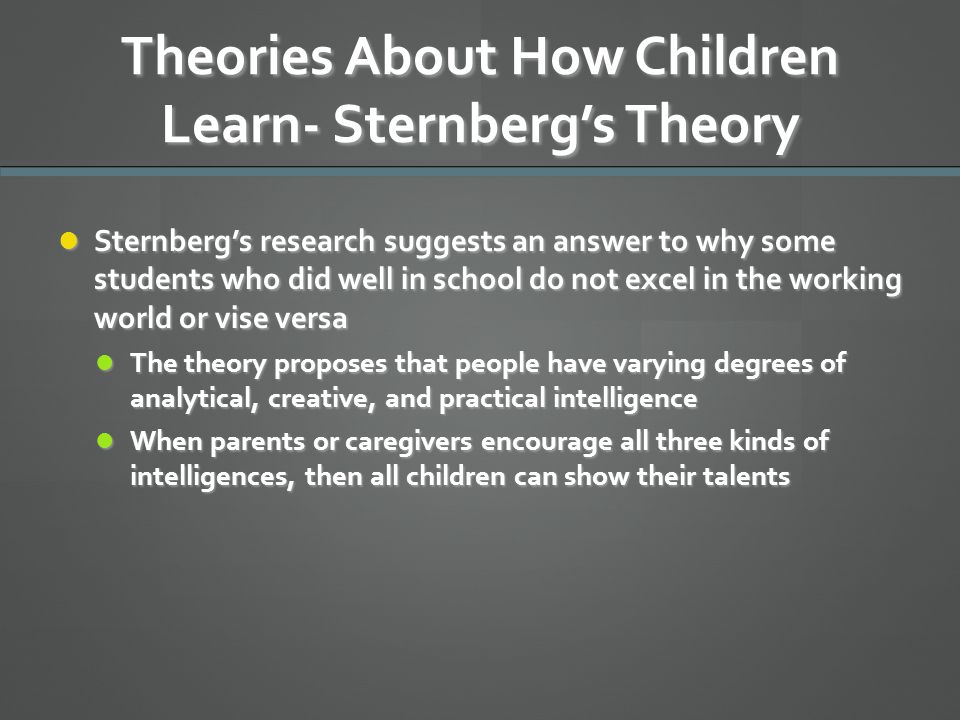 Theories About How Children Learn- Sternberg's Theory