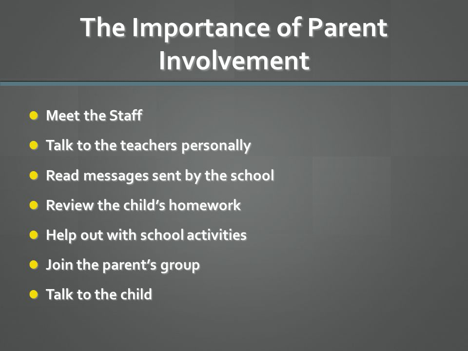 The Importance of Parent Involvement