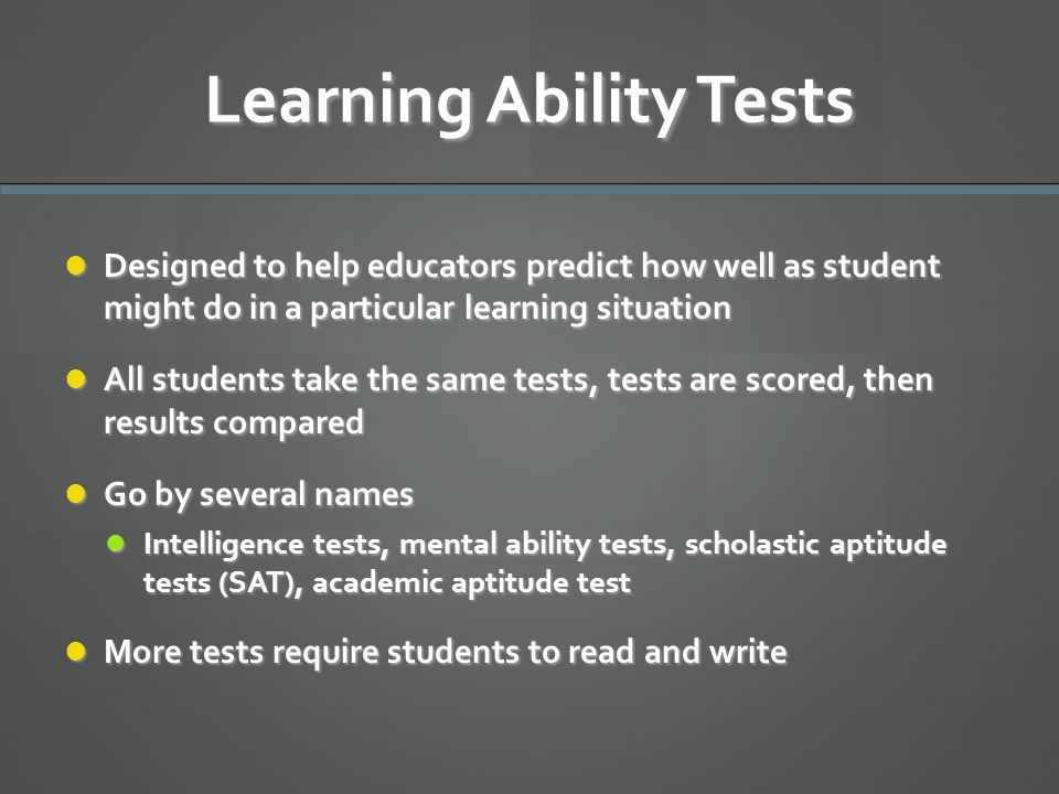 Learning Ability Tests