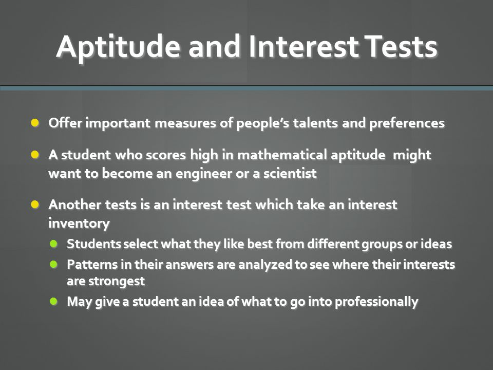 Aptitude and Interest Tests