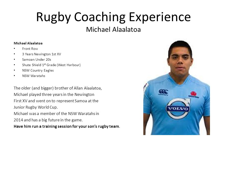 Rugby Coaching Experience Michael Alaalatoa