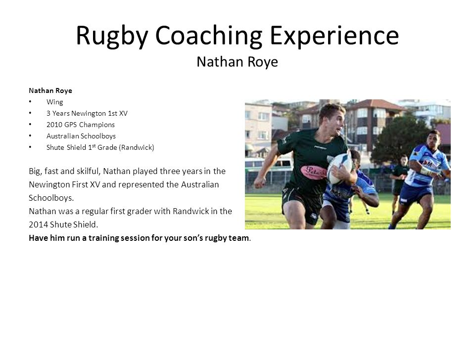 Rugby Coaching Experience Nathan Roye