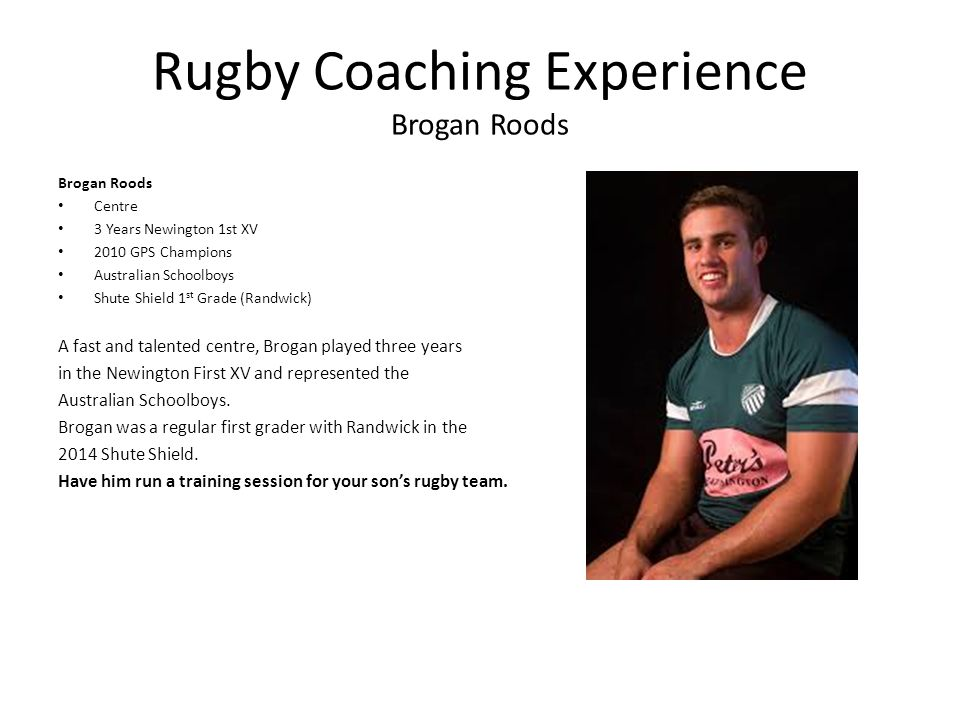 Rugby Coaching Experience Brogan Roods