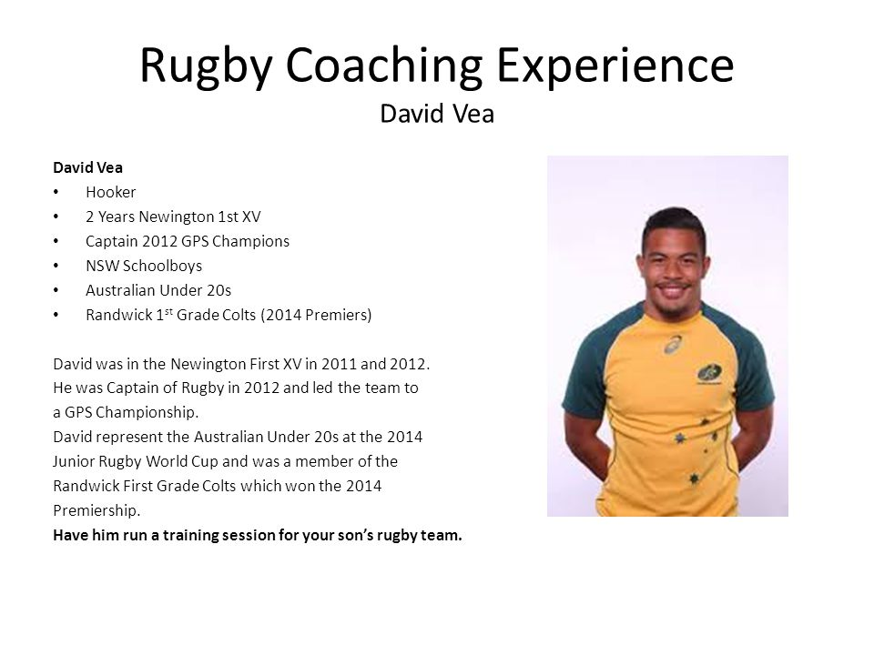 Rugby Coaching Experience David Vea