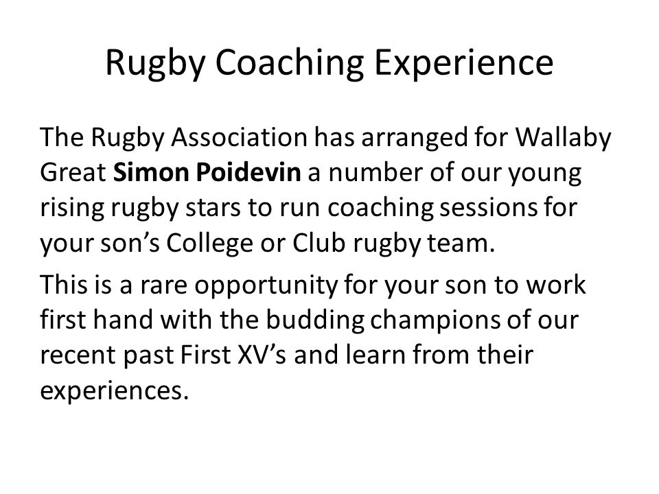 Rugby Coaching Experience