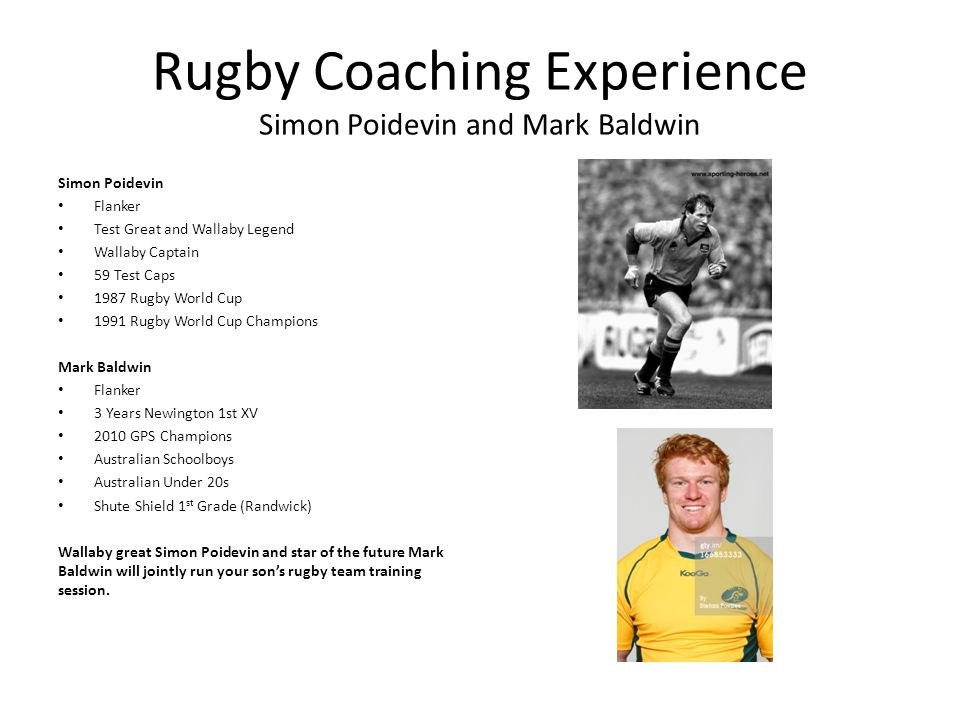 Rugby Coaching Experience Simon Poidevin and Mark Baldwin