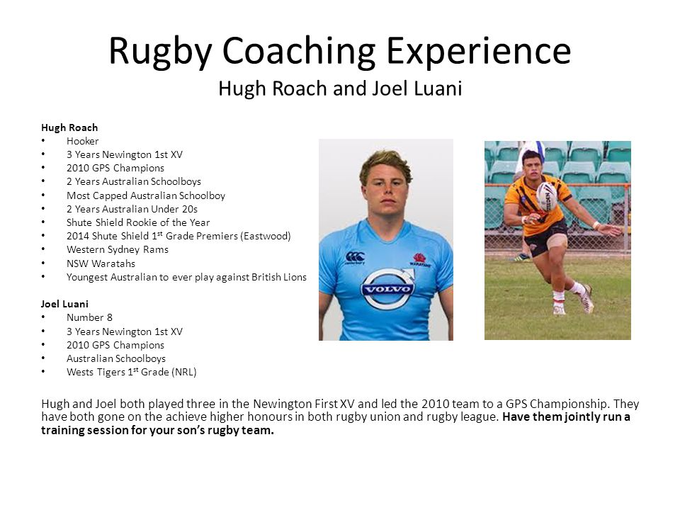 Rugby Coaching Experience Hugh Roach and Joel Luani