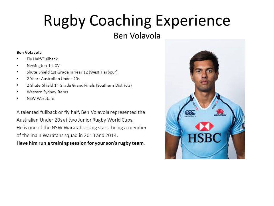 Rugby Coaching Experience Ben Volavola