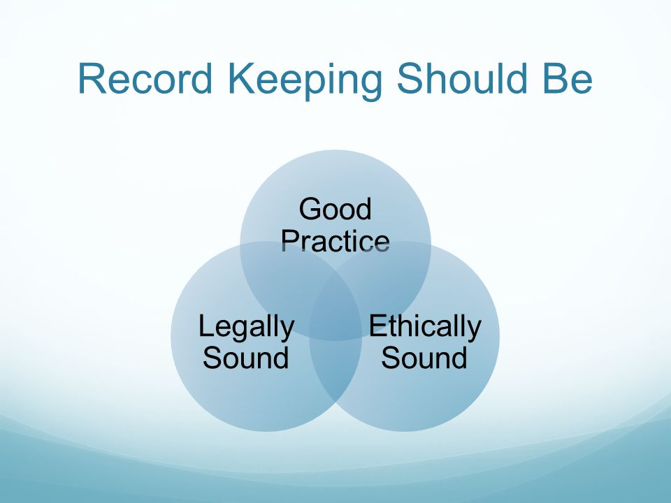 Record Keeping Should Be