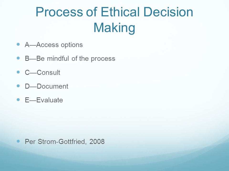 Process of Ethical Decision Making