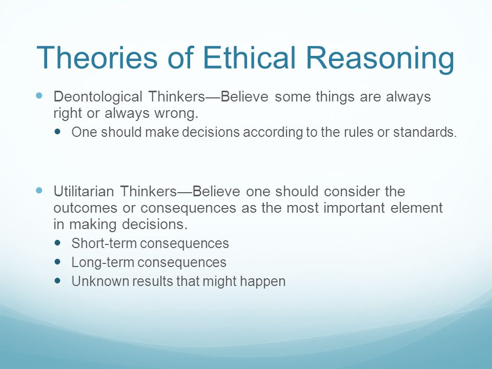 Theories of Ethical Reasoning