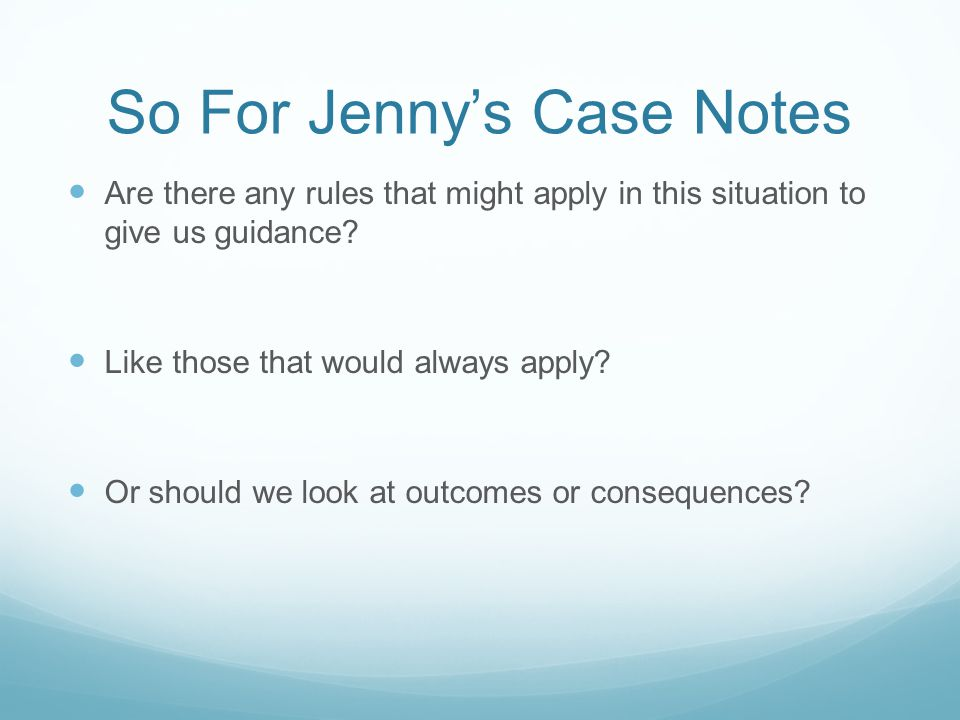 So For Jenny's Case Notes