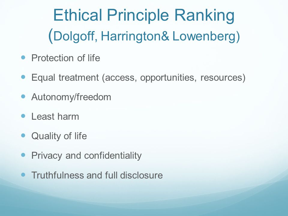Ethical Principle Ranking (Dolgoff, Harrington& Lowenberg)
