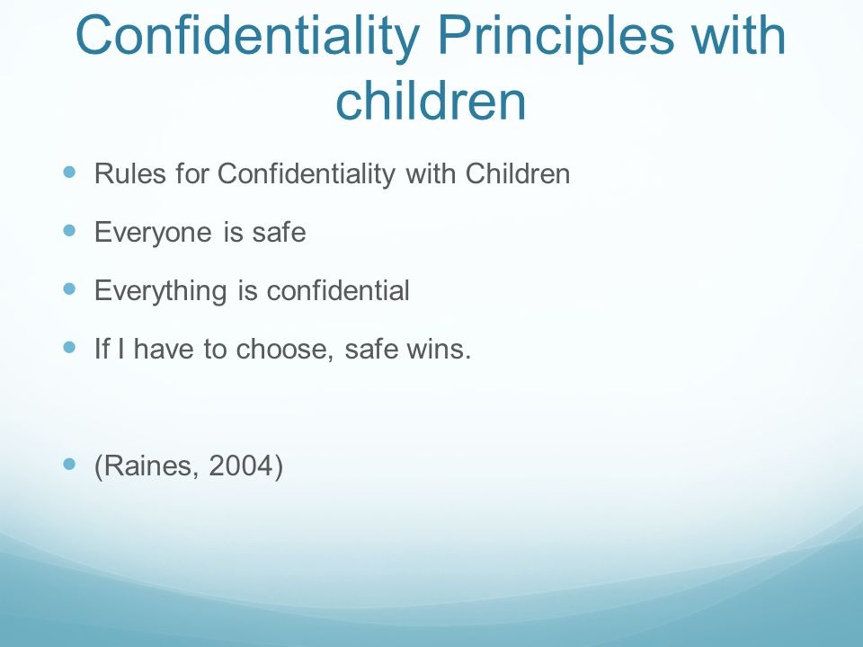 Confidentiality Principles with children