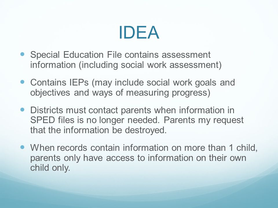 IDEA Special Education File contains assessment information (including social work assessment)